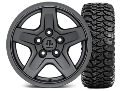 Mammoth Boulder Charcoal 15x8 Wheel & Mickey Thompson Baja MTZ 33X12.50R15 Tire Kit (87-06 Jeep Wrangler YJ & TJ)