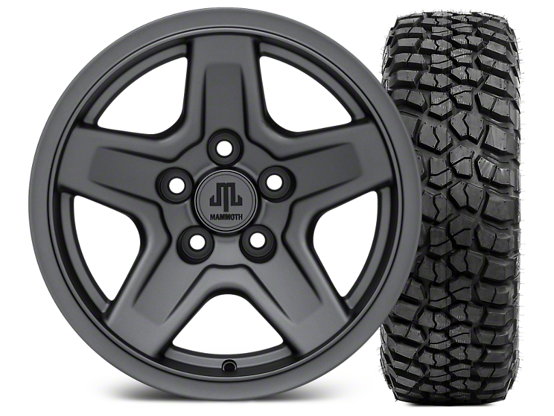 Mammoth Boulder Charcoal 15x8 Wheel & BFG KM2 33x10.5- 15 Tire Kit (87-06 Jeep Wrangler YJ & TJ)