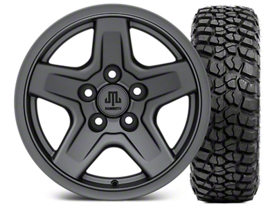 Mammoth Boulder Charcoal 15x8 Wheel & BFG KM2 35x12.5- 15 Tire Kit (87-06 Jeep Wrangler YJ & TJ)