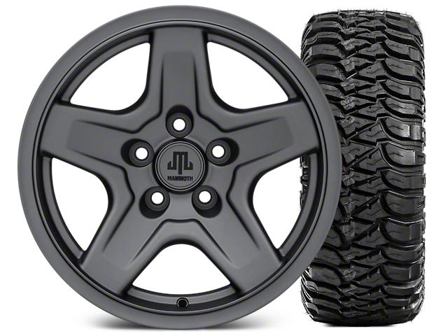 Mammoth Boulder Charcoal Wheel; 16x8 Wheel; and Mickey Thompson Baja MTZ 265/75-16 (87-06 Jeep Wrangler YJ & TJ)