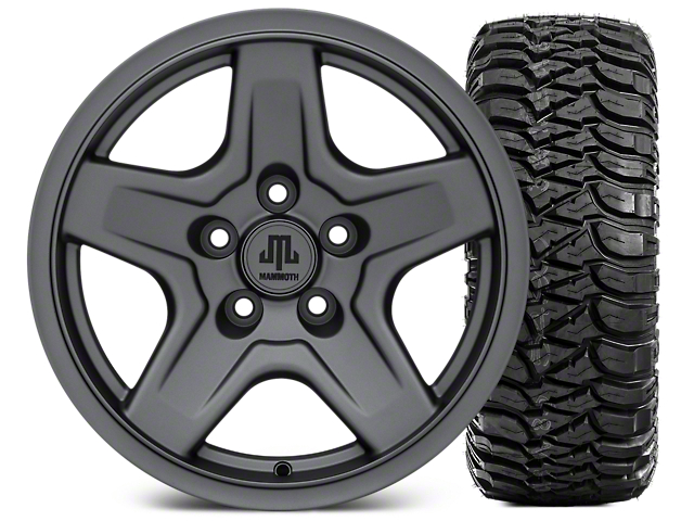 Mammoth Boulder Charcoal 16x8 Wheel & Mickey Thompson Baja MTZ 315/75-16 Tire Kit (87-06 Jeep Wrangler YJ & TJ)