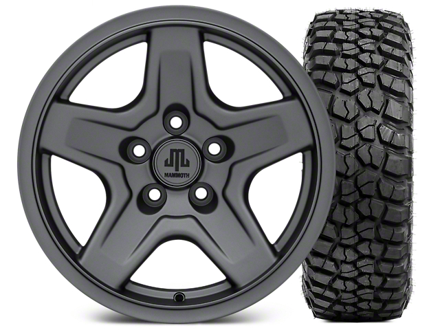 Mammoth Boulder Charcoal Wheel; 16x8 Wheel; and BFG KM2 Tire 305/70- 16 (87-06 Jeep Wrangler YJ & TJ)