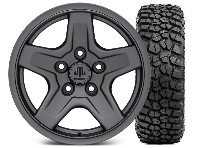 Mammoth Boulder Charcoal Wheel - 16x8 Wheel - and BFG KM2 Tire 305/70- 16 (07-18 Wrangler JK)