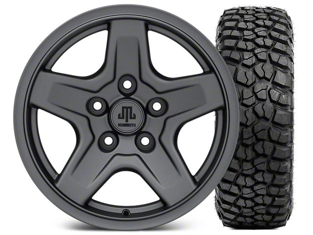 Mammoth Boulder Charcoal Wheel - 16x8 Wheel - and BFG KM2 Tire 305/70- 16 (07-17 Wrangler JK)