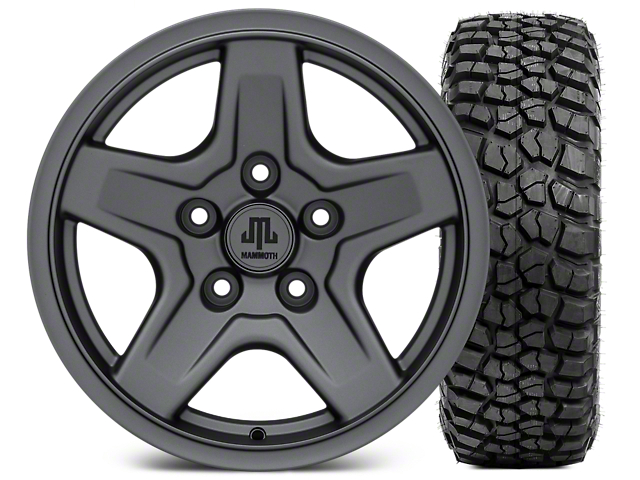 Mammoth Boulder Charcoal Wheel - 16x8 Wheel - and BFG KM2 Tire 315/75- 16 (07-18 Jeep Wrangler JK; 2018 Jeep Wrangler JL)