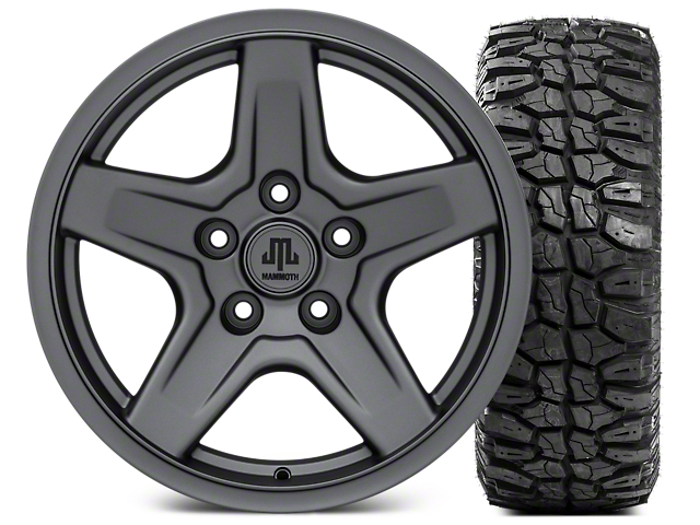 Mammoth Boulder Charcoal Wheel; 17x9 and Mudclaw Radial 265/70-17 (07-18 Jeep Wrangler JK; 2018 Jeep Wrangler JL)