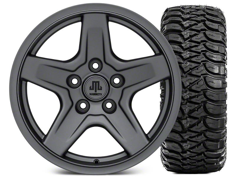 Mammoth Boulder Charcoal 17x9 Wheel & Mickey Thompson Baja ATZP3 265/70R17 Tire Kit (07-18 Jeep Wrangler JK)