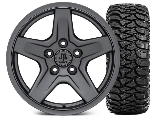 Mammoth Boulder Charcoal 17x9 Wheel and Mickey Thompson Baja MTZ 305/65R17 Tire Kit (07-18 Jeep Wrangler JK)