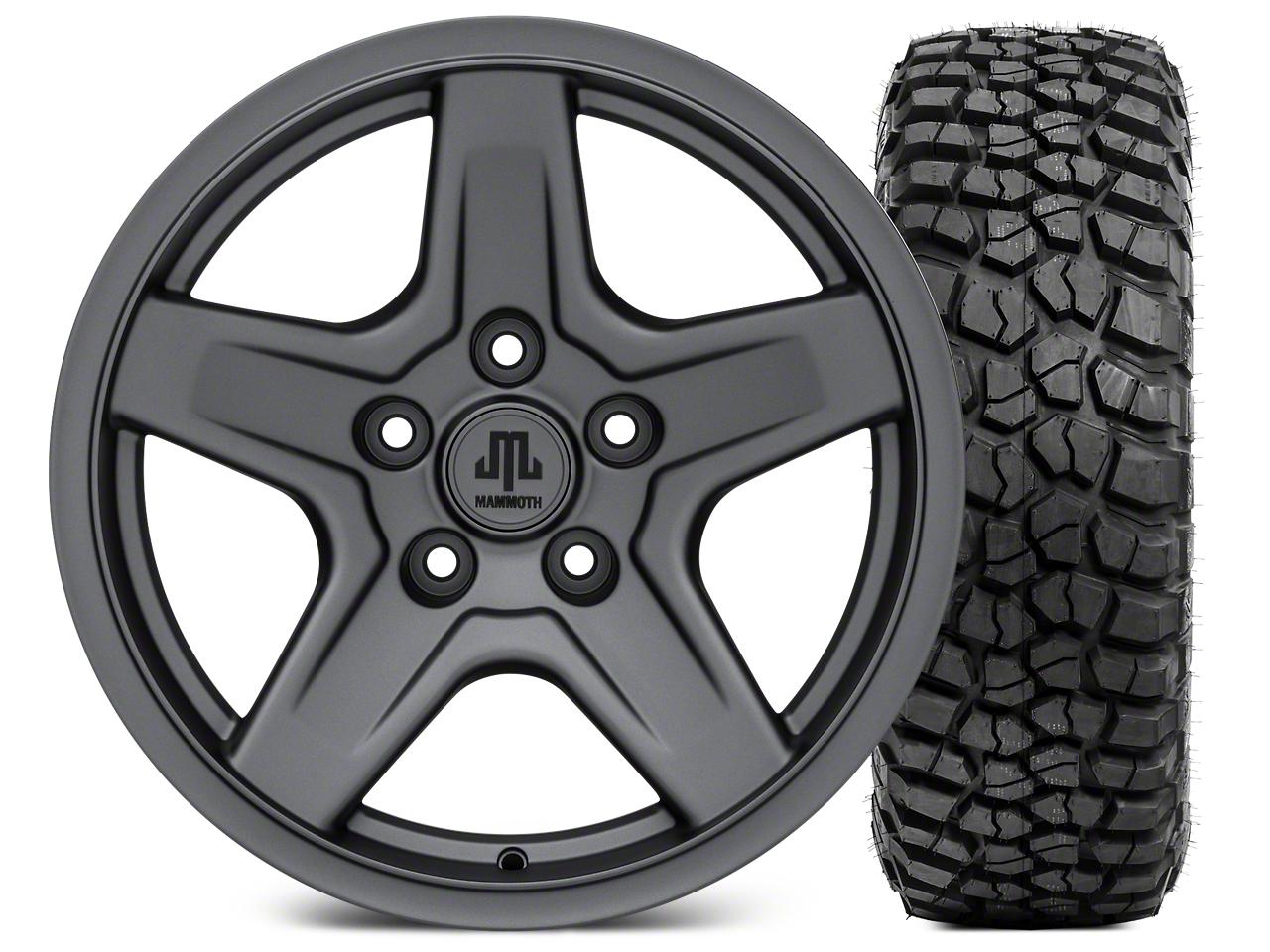 Mammoth Boulder Charcoal Wheel - 17x9 and BFG KM2 Tire 305/70- 17 (07-18 Jeep Wrangler JK; 2018 Jeep Wrangler JL)