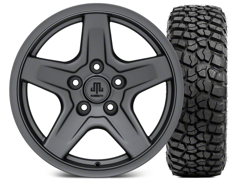 Mammoth Boulder Charcoal Wheel - 17x9 and BFG KM2 Tire 35x12.5x17 (07-17 Wrangler JK)