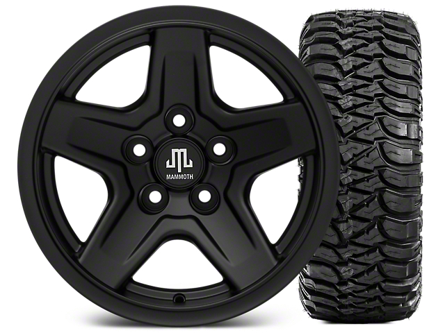 Mammoth Boulder Black 15x8 Wheel and Mickey Thompson Baja MTZ 33X12.50R15 Tire Kit (87-06 Jeep Wrangler YJ & TJ)