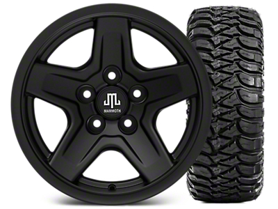 Mammoth Boulder Black 15x8 Wheel & Mickey Thompson Baja MTZ 33X12.50R15 Tire Kit (87-06 Jeep Wrangler YJ & TJ)