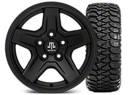 Mammoth Boulder Black 15x8 Wheel and Mickey Thompson Baja MTZ 33X12.50R15; Set of Five (87-06 Jeep Wrangler YJ & TJ)
