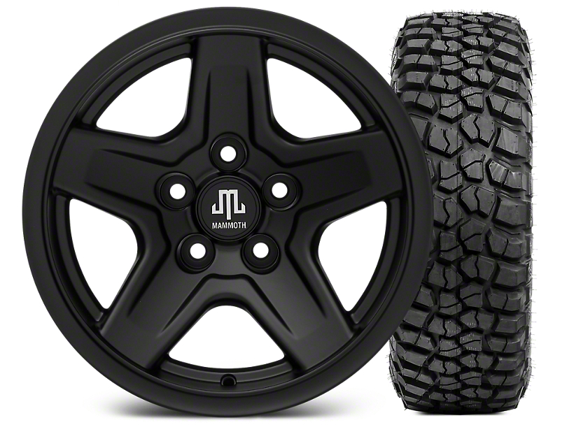 Mammoth Boulder Black 15x8 Wheel & BFG KM2 33x10.5- 15 Tire Kit (87-06 Jeep Wrangler YJ & TJ)