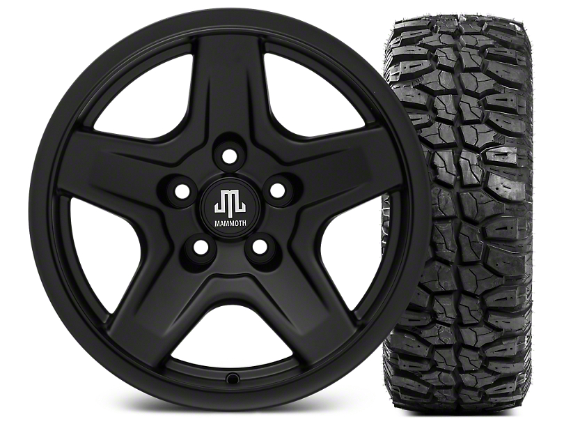 Mammoth Boulder Black 16x8 Wheel & Mudclaw Radial 315/75- 16 Tire Kit (87-06 Jeep Wrangler YJ & TJ)
