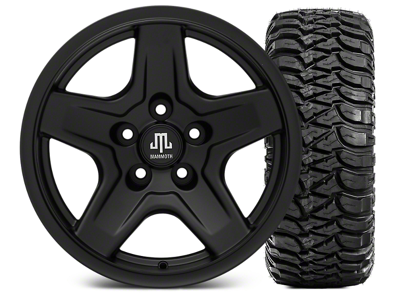 Mammoth Boulder Black 16x8 Wheel & Mickey Thompson Baja MTZ 315/75-16 Tire Kit (87-06 Jeep Wrangler YJ & TJ)