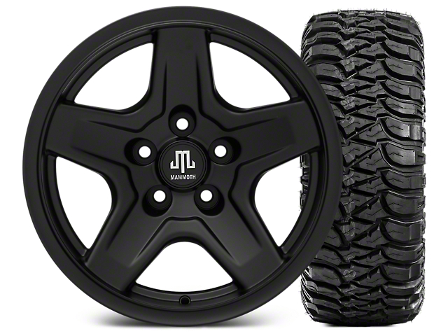 Mammoth Boulder Black 16x8 Wheel & Mickey Thompson Baja MTZ 315/75-16 Tire Kit (87-06 Wrangler YJ & TJ)