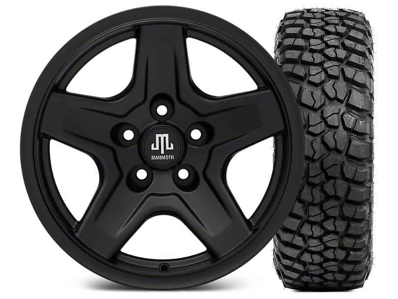 Mammoth Boulder Black 16x8 Wheel & BF Goodrich KM2 315/75R16 Tire Kit (87-06 Jeep Wrangler YJ & TJ)