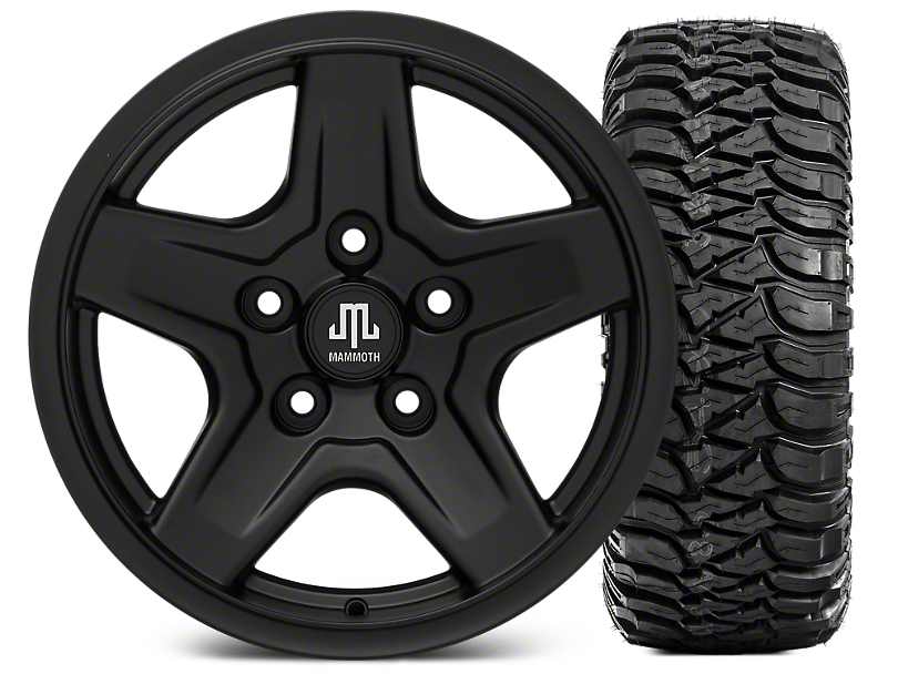 Mammoth Boulder Black Wheel - 16x8 Wheel - and Mickey Thompson Baja MTZ 265/75-16 (07-17 Wrangler JK)