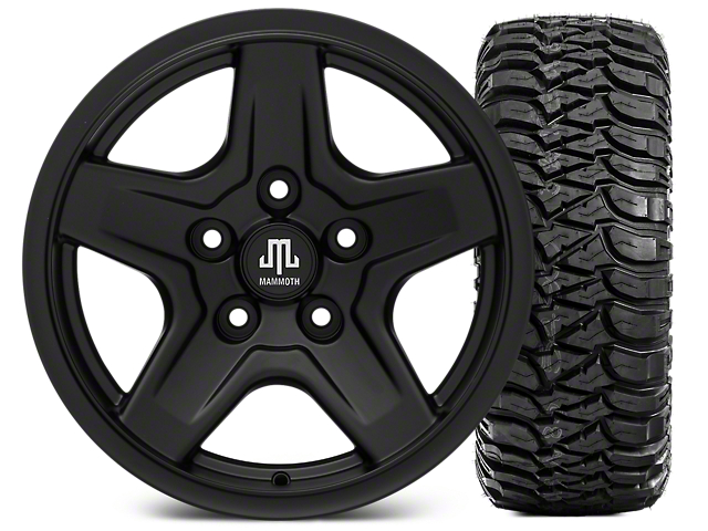 Mammoth Boulder Black 16x8 Wheel & Mickey Thompson Baja MTZ 315/75R16 Tire Kit (07-18 Jeep Wrangler JK)