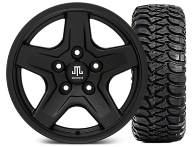 Mammoth Boulder Black Wheel - 16x8 Wheel - and Mickey Thompson Baja MTZ 315/75-16 (07-18 Jeep Wrangler JK; 2018 Jeep Wrangler JL)