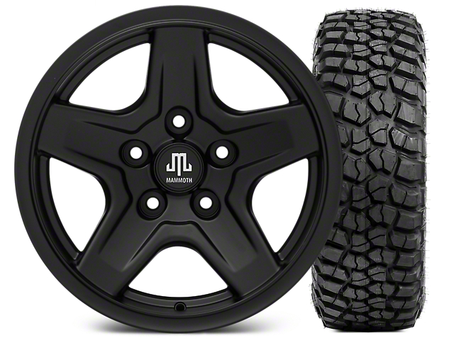 Mammoth Boulder Black Wheel - 16x8 Wheel - and BFG KM2 Tire 315/75- 16 (07-17 Wrangler JK)