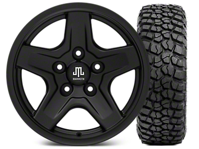 Mammoth Boulder Black Wheel - 16x8 Wheel - and BFG KM2 Tire 315/75- 16 (07-18 Jeep Wrangler JK; 2018 Jeep Wrangler JL)