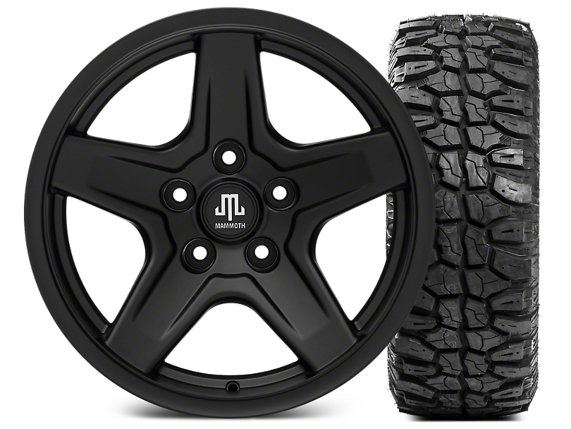 Mammoth Boulder Black Wheel - 17x9 and Mudclaw Radial 35x12.5- 17 (07-18 Wrangler JK; 2018 Wrangler JL)