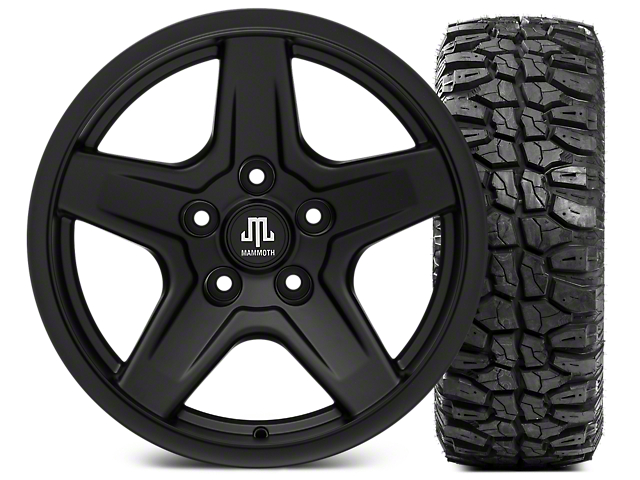 Mammoth Boulder Black Wheel - 17x9 and Mudclaw Radial 35x12.5- 17 (07-18 Jeep Wrangler JK; 2018 Jeep Wrangler JL)