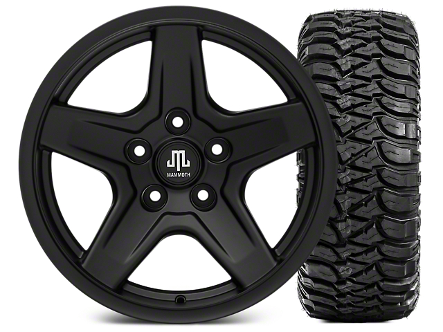 Mammoth Boulder Black Wheel - 17x9 and Mickey Thompson Baja ATZP3 265/70-17 (07-18 Wrangler JK; 2018 Wrangler JL)