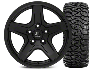 Mammoth Boulder Black Wheel - 17x9 and Mickey Thompson Baja ATZP3 265/70-17 (07-18 Jeep Wrangler JK; 2018 Jeep Wrangler JL)