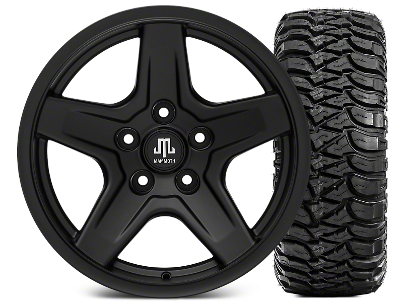 Mammoth Boulder Black Wheel - 17x9 and Mickey Thompson Baja MTZ 305/65-17 (07-18 Jeep Wrangler JK; 2018 Jeep Wrangler JL)