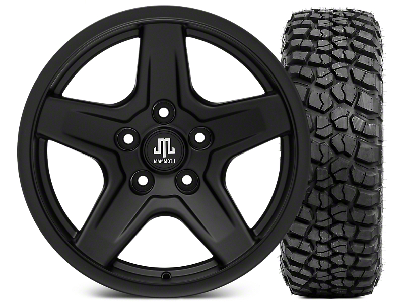 Mammoth Boulder Black Wheel - 17x9 and BFG KM2 Tire 265/70-17 (07-18 Wrangler JK; 2018 Wrangler JL)