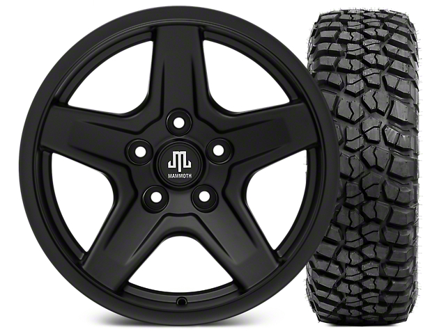 Mammoth Boulder Black 17x9 Wheel & BF Goodrich KM2 305/70R17 Tire Kit (07-18 Jeep Wrangler JK)