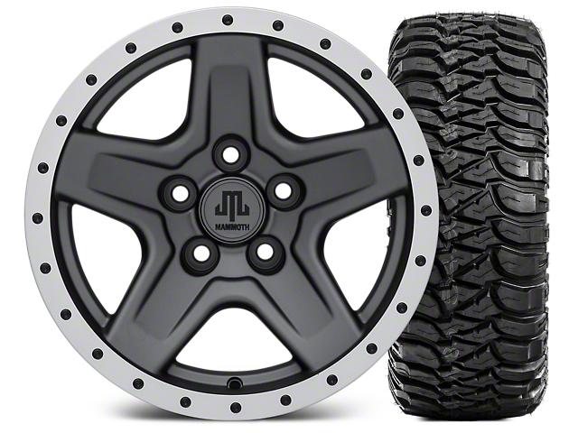 Mammoth Boulder Beadlock Style Charcoal Wheel; 15x8 Wheel; and Mickey Thompson Baja MTZ 31X10.50R15 (87-06 Jeep Wrangler YJ & TJ)