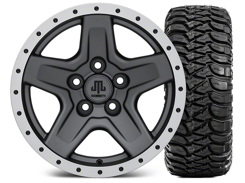 Mammoth Boulder Beadlock Style Charcoal 15x8 Wheel & Mickey Thompson Baja MTZ 33X12.50R15 Tire Kit (87-06 Wrangler YJ & TJ)
