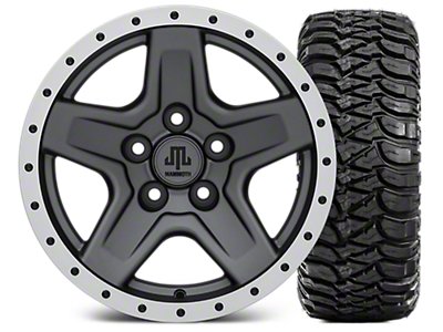 Mammoth Boulder Beadlock Style Charcoal 15x8 Wheel & Mickey Thompson Baja MTZ 33X12.50R15 Tire Kit (87-06 Jeep Wrangler YJ & TJ)