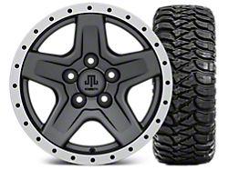 Mammoth Boulder Beadlock Style Charcoal 15x8 Wheel and Mickey Thompson Baja MTZ 33X12.50R15; Set of Five (87-06 Jeep Wrangler YJ & TJ)