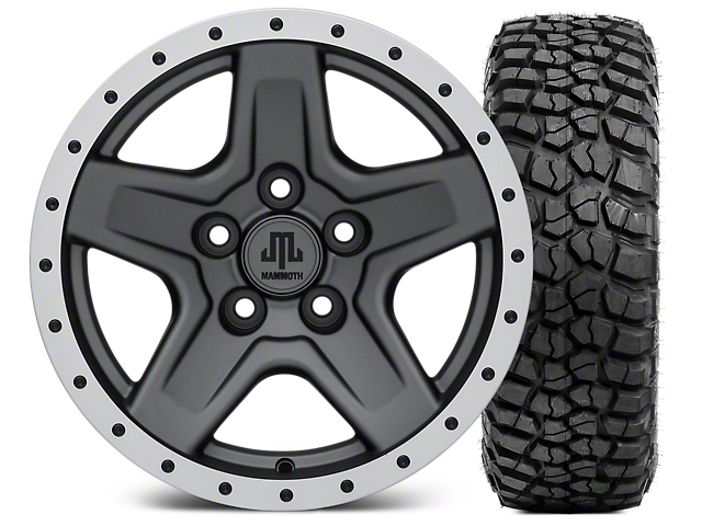 Mammoth Boulder Beadlock Style Charcoal Wheel; 15x8 Wheel; and BFG KO2 Tire 31x10.5- 15 (87-06 Jeep Wrangler YJ & TJ)