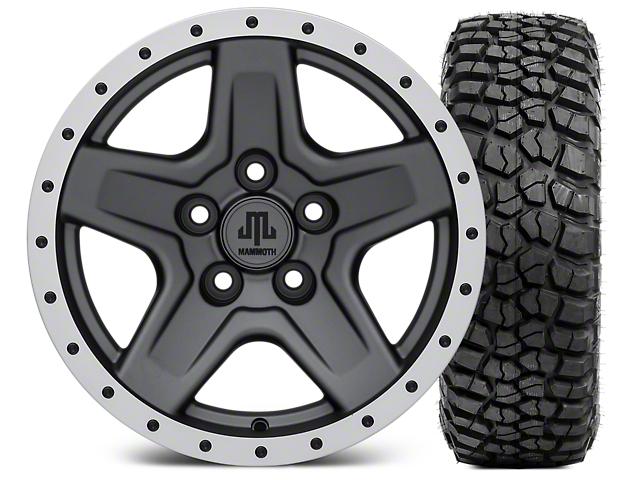 Mammoth Boulder Beadlock Style Charcoal 15x8 Wheel & BFG KM2 33x10.5- 15 Tire Kit (87-06 Wrangler YJ & TJ)