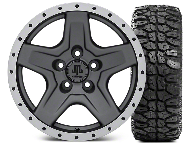 Mammoth Boulder Beadlock Style Charcoal 16x8 Wheel & Mudclaw Radial 315/75- 16 Tire Kit (87-06 Jeep Wrangler YJ & TJ)