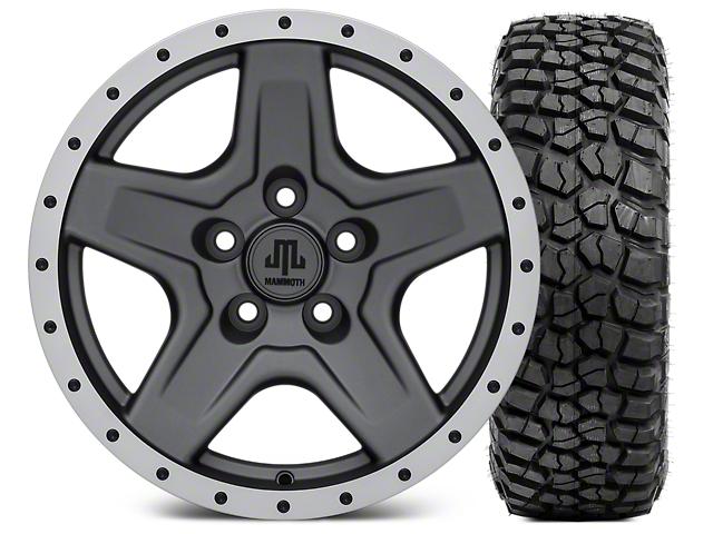 Mammoth Boulder Beadlock Style Charcoal Wheel; 16x8 Wheel; and BFG KM2 Tire 305/70- 16 (87-06 Jeep Wrangler YJ & TJ)