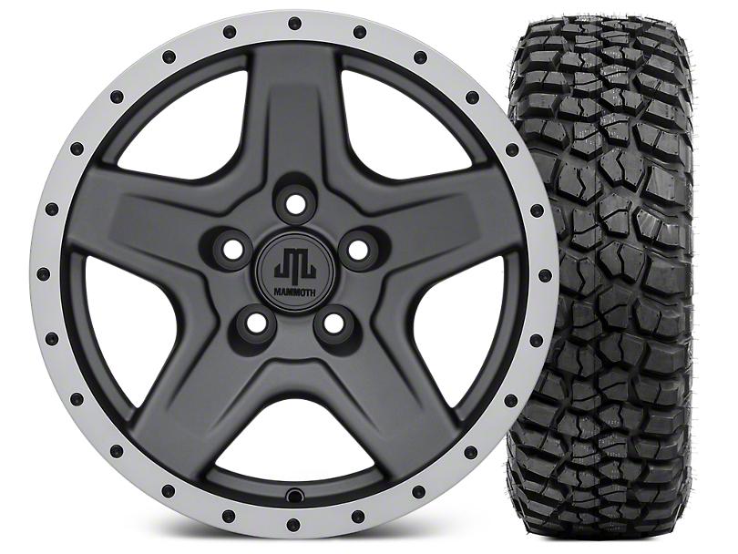 Mammoth Boulder Beadlock Style Charcoal 16x8 Wheel & BF Goodrich KM2 315/75R16 Tire Kit (87-06 Jeep Wrangler YJ & TJ)