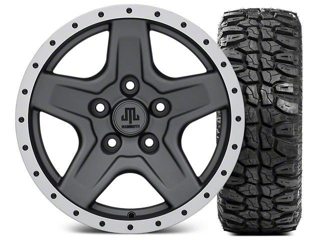 Mammoth Boulder Beadlock Style Charcoal Wheel; 16x8 Wheel; and Mudclaw Radial 265/75/16 (07-18 Jeep Wrangler JK)