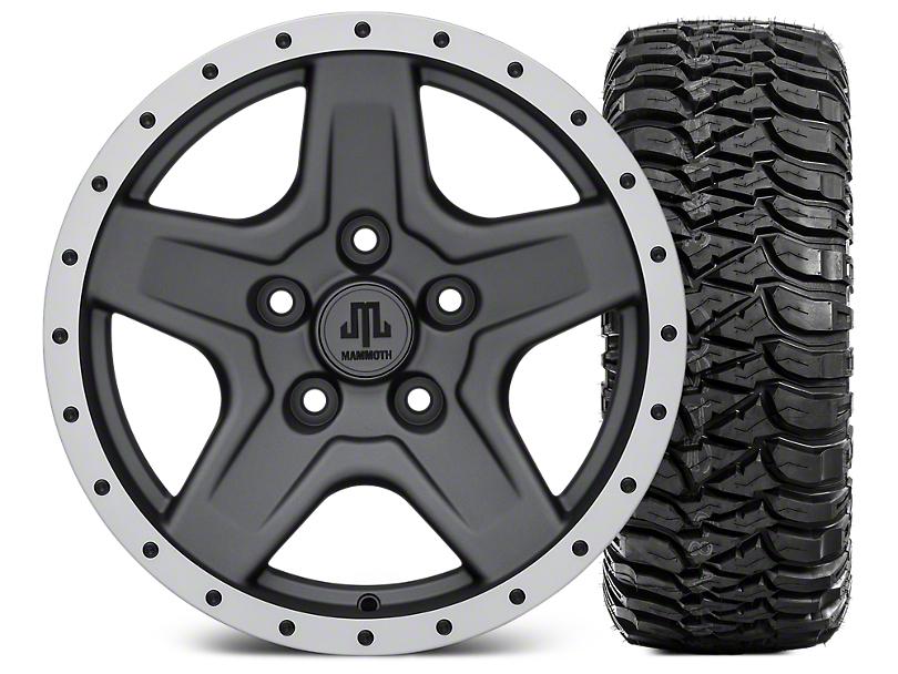 Mammoth Boulder Beadlock Style Charcoal 16x8 Wheel & Mickey Thompson Baja MTZ 315/75R16 Tire Kit (07-18 Jeep Wrangler JK)