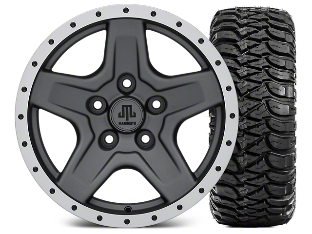 Mammoth Boulder Beadlock Style Charcoal 16x8 Wheel and Mickey Thompson Baja MTZ 315/75R16 Tire Kit (07-18 Jeep Wrangler JK)