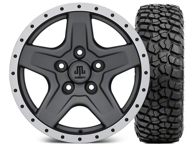 Mammoth Boulder Beadlock Style Charcoal Wheel; 16x8 Wheel; and BFG KM2 Tire 305/70- 16 (07-18 Jeep Wrangler JK)
