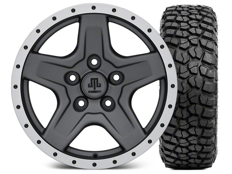 Mammoth Boulder Beadlock Style Charcoal Wheel - 16x8 Wheel - and BFG KM2 Tire 315/75- 16 (07-18 Jeep Wrangler JK; 2018 Jeep Wrangler JL)