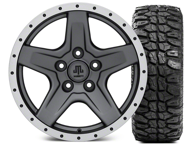 Mammoth Boulder Beadlock Style Charcoal Wheel - 17x9 and Mudclaw Radial 265/70-17 (07-18 Jeep Wrangler JK; 2018 Jeep Wrangler JL)