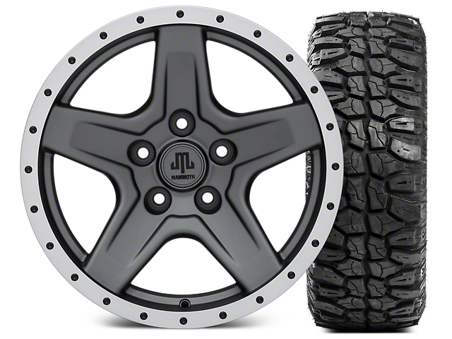Mammoth Boulder Beadlock Style Charcoal Wheel; 17x9 and Mudclaw Radial 33x12.5- 17 (07-18 Jeep Wrangler JK)